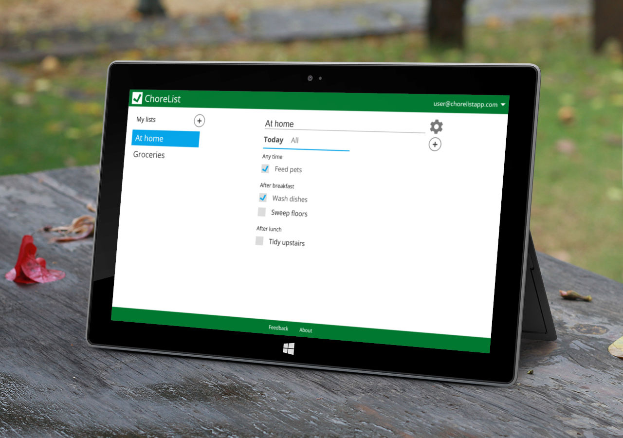 ChoreList open on a Microsoft Surface